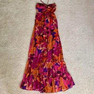 Tropical Print Maxi Halter Dress